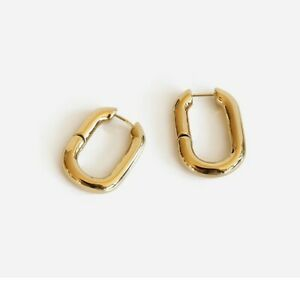 18K Gold Plated Fashion Hoop Earrings in Brass with Gold Finish Design Gift