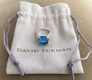 🔹 GENUINE 🔹 DAVID YURMAN STERLING SILVER 16MM BLUE TOPAZ & DIAMOND SIZE 6 RING
