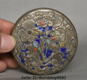 """3"""" Marked Old Chinese Silver Dynasty Animal Monkey Flower ink box ink cartridge"""