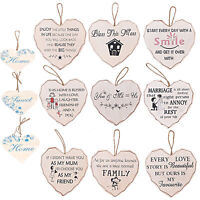 New Wooden Hanging Heart Wall Plaque Sign Message Decoration Gift Home Family