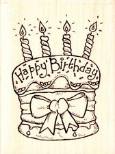 BIRTHDAY CAKE - Wood Mounted Rubber Stamp - Personal Impressions