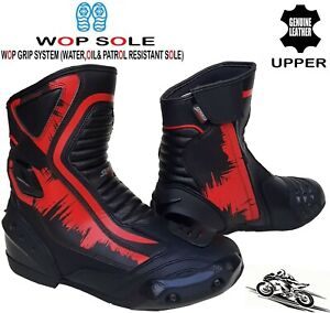 MENS RED/BLACK LEATHER MOTORBIKE MOTORCYCLE CE RACING BOOTS SPORTS SHORT SHOES
