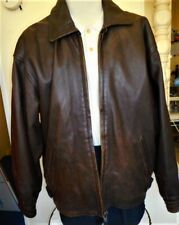Men's Brown Leather Jacket Size Xl Large heavy duty Zipper with secret pocket