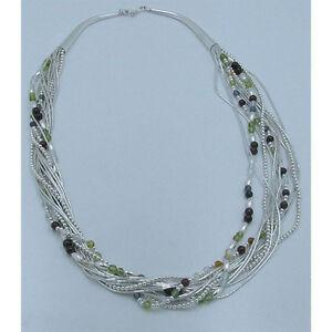 13 Strand .925 Sterling Silver Natural Peridot Garnet Quartz Amber Necklace