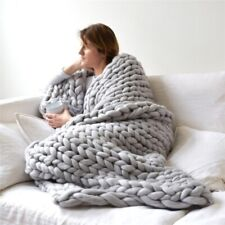 Winter Warm Chunky Knit Blanket Thick Yarn Merino Hand Woven Bulky Knitted-Throw