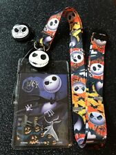 Jack Skellington Face  Lanyard With Jack Sugar Skull Button Pin.