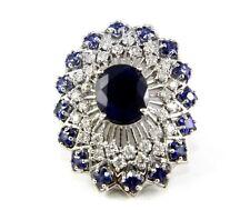 Fine Deep Blue Sapphire Huge Ring w/Diamond & Ceylon Sapphire Halo 9.33Ct 14k WG