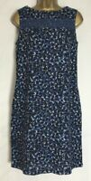 Next Blue Leopard  Print Linen Blend Pocket Shift Dress Size 8, 12,16,18 (n-68h)