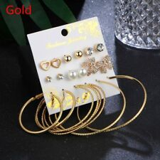 9pairs Butterfly Simulated Pearl Heart Crystal Round Hoop Earrings Set Ear Stud Gold