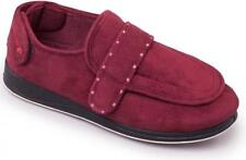 Padders ENFOLD Ladies Womens Touch Fasten Extra Wide Fit (EE) Slippers Burgundy