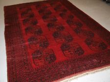 OLD TRADITIONAL RED AFGHAN VILLAGE CARPET, PERFECT CONDITION, CIRCA 1920.