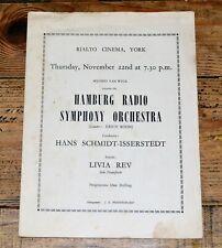 Vintage 1950s Hamburg Radio Symphony Orchestra Rialto Cinema York Programme
