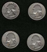 Lot of 4 Silver US Washington Quarters Year: 1944 FREE Shipping
