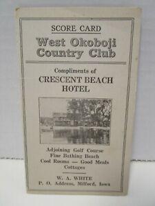 Vintage Antique West Okoboji Country Club Golf Score Card - Lake Okoboji, Iowa