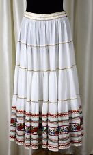 """ETHNIC FESTIVAL SLAVIC WHITE EMBROIDERY COTTON GOLD TRIM MAXI TIERED SKIRT 32"""""""