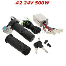 24V 500W Motor Brush Speed Controller+Electric Bike Scooter Throttle Twist Grips