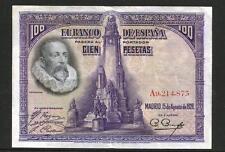 "EXCELENTE BILLETE 100 PESETAS 1928 SERIE ""A"" CERVANTES"