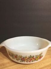 Vintage Anchor Hocking Fire King Oven Proof  Casserole 436 White w/ Vegetables