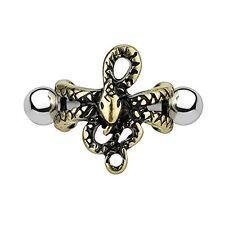 16G Earring Cuff Pierced Snake Antique Goldtone Ear Cartilage Helix Piercing Bar
