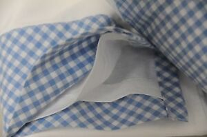 NEW Pottery Barn Kids Tailored Gingham Crib Bed Skirt Blue White Plaid Baby Boy