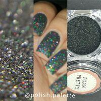 Holographische Holo schwarz Laser Effekt Puder Glitzer Maniküre Nail Art Glitter