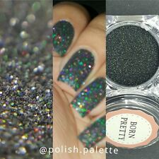 Holographic Holo Black Laser Effect Powder Nail Art Glitter  Tips#8