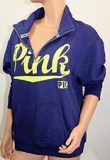 Victoria's Secret Pink NWT Boyfriend Graphic Half Zip Pullover Blue Medium