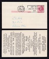 SCOTT #UX38 1 CENT POSTAL CARD SLOGAN CANCEL ADVERTISING LOANS 1954