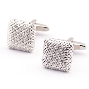 Wedding Cufflinks Groom SILVER square mens cuff link usher pageboy Grooms Dress