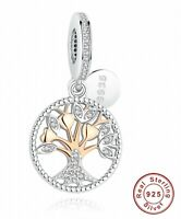 925 New Authentic Rose Gold Family Tree Silver Dangle Charms Bead Women Jewelry