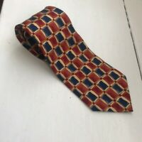 Dunhill 100% silk tie. Red, blue & yellow. Made in Italy