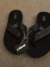 NWT Teva mush II leather flip flops shoes black 6