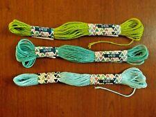 lot de 3 échevettes de fils à broder 3 verts différents (4)