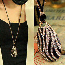 Retro Temperament Women Zebra Double Layers Long Chain Pendant Necklace Jewelry
