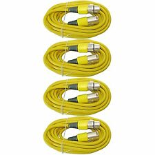 NEW 4 pack LOT 25 FT 3pin shielded XLR M/F mic microphone audio extension cable