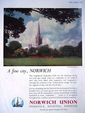 1952 NORWICH UNION Insurance 'Norwich Cathedral' Advert - Photo Print AD