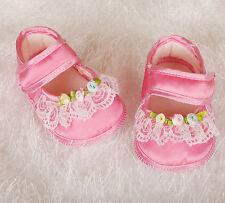Nuevo Bebé Niña Raso Zapatitos para Bautizo Marfil, Rosa de Recién Nacido A
