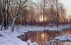 Beautiful huge Oil painting Ivan Choultse - November dusk snow forest by pond