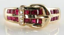 CLASS 9CT YELLOW GOLD ART DECO INS INDIAN RUBY & DIAMOND BUCKLE RING