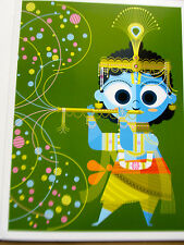 Hindu God Krishna Poster Reprint -Artwork By Sanjay Patel 15x11 Bright Cheery