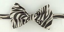 Sale Zebra Print Traditional Leather Bow Tie Dickie Bow Wedding Party 12by8 cm