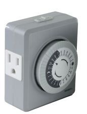 TU19 24-hr 15 Amp Plug in Mechanical Wall Timer Switch Dual 3-pin USA Outlets