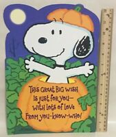 Peanuts Snoopy Woodstock Jumbo Large Happy Halloween Greeting Card Vtg Unused