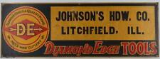 DIAMOND EDGE TOOLS EMBOSSED TIN SIGN-JOHNSON'S HARDWARE LITCHFIELD ILL.