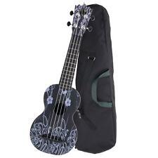 Ukulele Soprano Guitarra Hawaii Uke Ukelele Kit 4 Cordes Nylon Bolsa Flor Negro