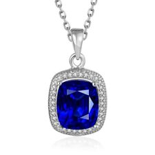 Elegant 18k 18CT White Gold GF Ocean of Heart Sapphire Pendant Necklace N-A739