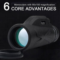 80X100 HD Zoom Lens Prism Hiking Monocular Telescope standard Configuration