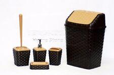 Set accessori bagno 5pc Woven stile Tumbler Holder Bagno WC D. Choclate