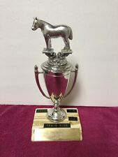 New listing Cowboy Horse Trophy Heavy Horse On Top, equestrian show vintage decor