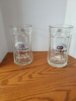 Two Vintage Hacker Pschorr Munchen 0.5L Beer Glass Mugs with Handle